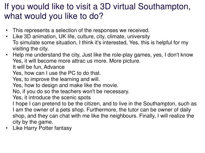 If you would like to visit a 3D virtual Southampton, what would you like to do?