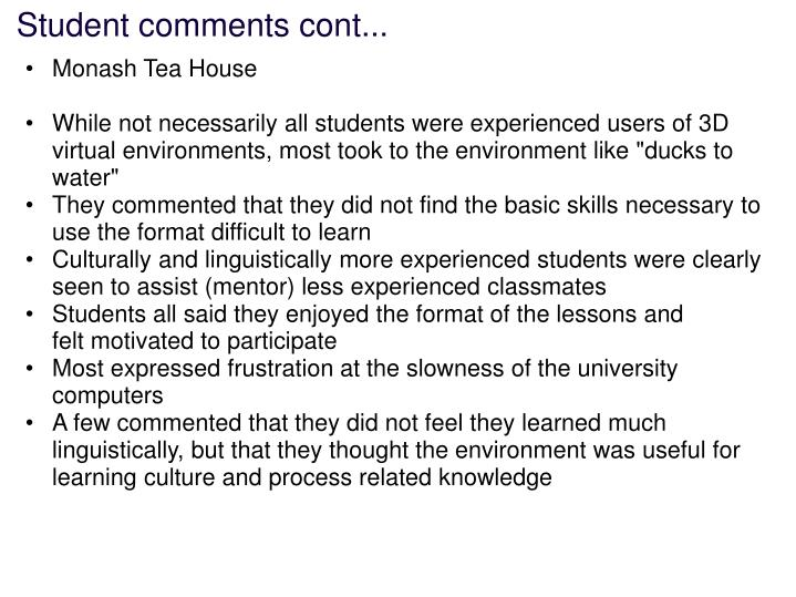 Student comments cont...