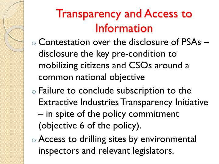 Transparency and Access to Information