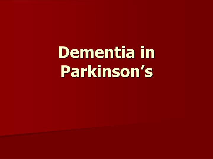 Dementia in Parkinson's