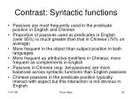 contrast syntactic functions