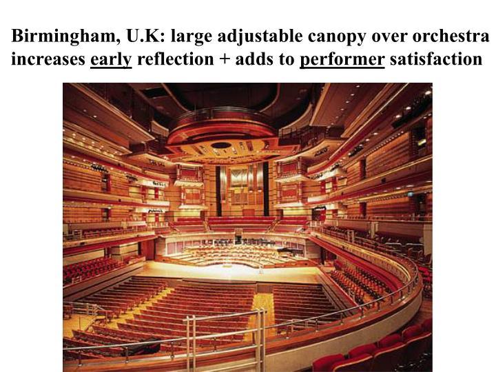 Birmingham, U.K: large adjustable canopy over orchestra