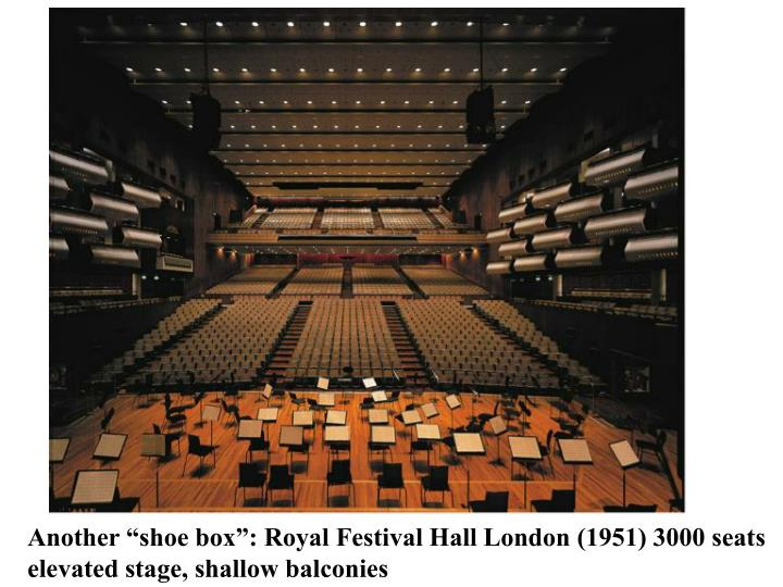 """Another """"shoe box"""": Royal Festival Hall London (1951) 3000 seats"""