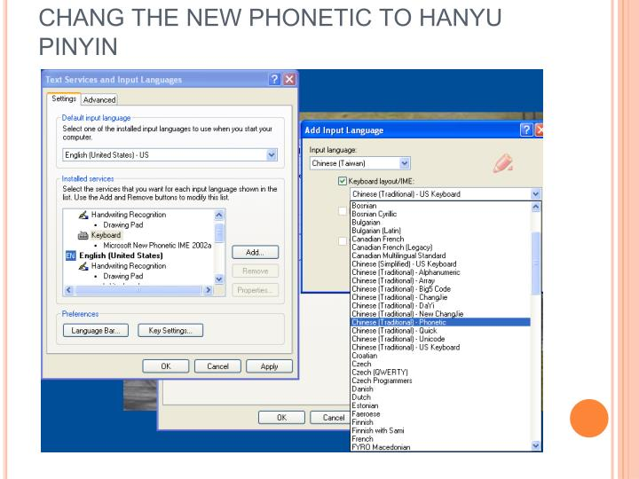 CHANG THE NEW PHONETIC TO HANYU PINYIN