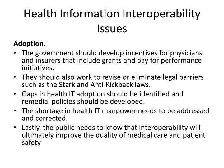 Health Information Interoperability Issues