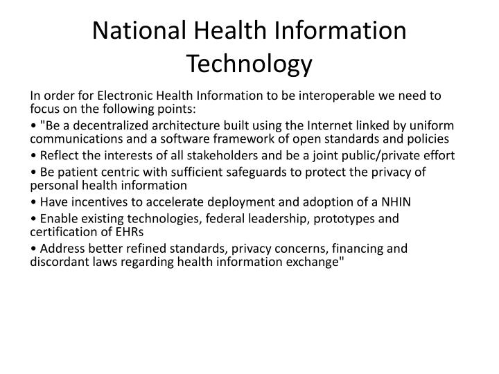 National Health Information Technology