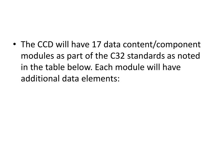 The CCD will have 17 data content/component modules as part of the C32 standards