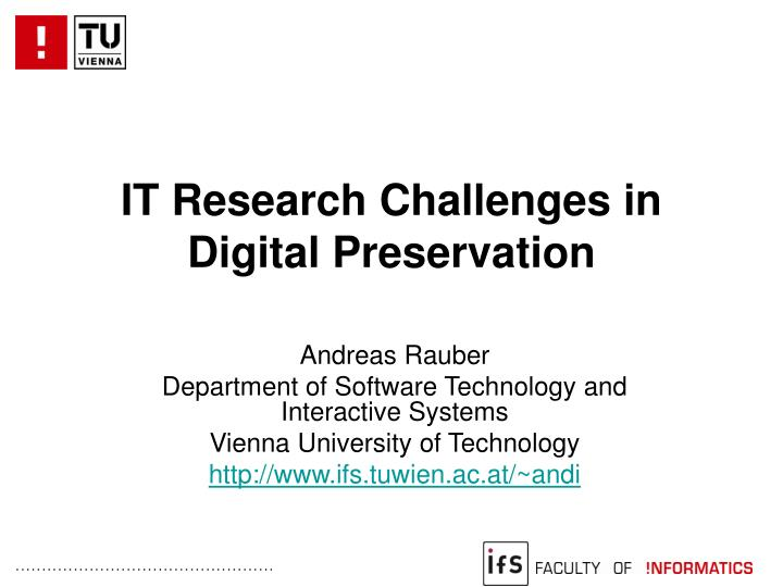 it research challenges in digital preservation n.