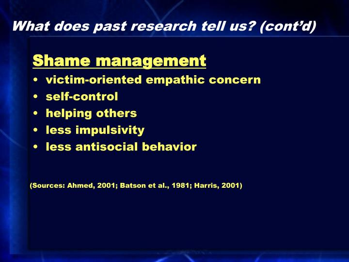 What does past research tell us? (cont'd)