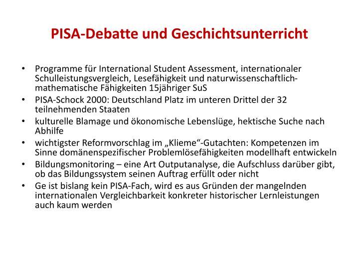 Pisa debatte und geschichtsunterricht