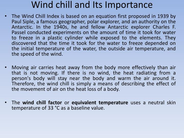 Wind chill and Its Importance