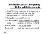 financial control integrating dollar ad unit concepts
