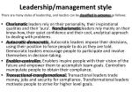 leadership management style