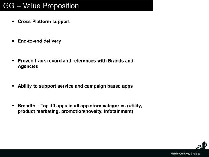 GG – Value Proposition