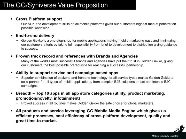 The GG/Syniverse Value Proposition