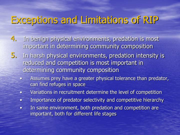 Exceptions and Limitations of RIP