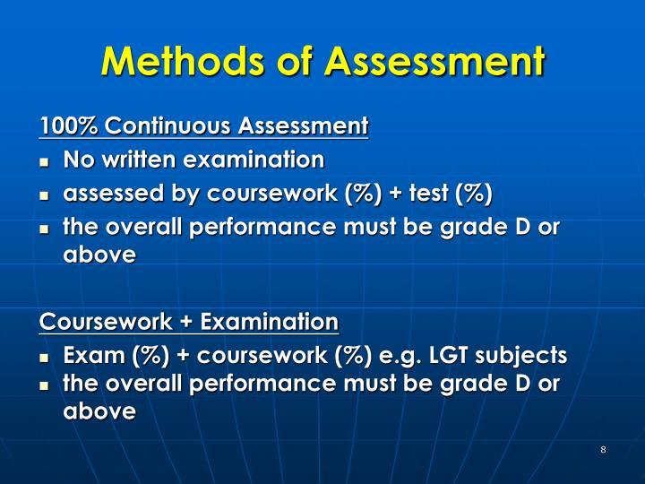 Methods of Assessment