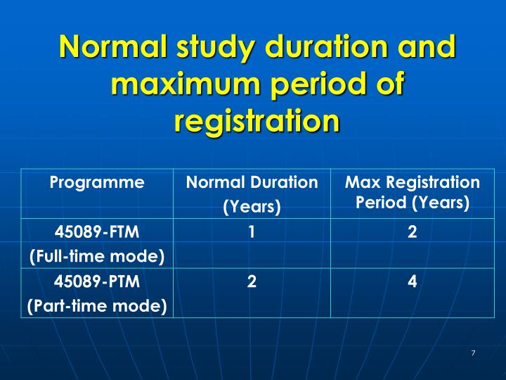 Normal study duration and