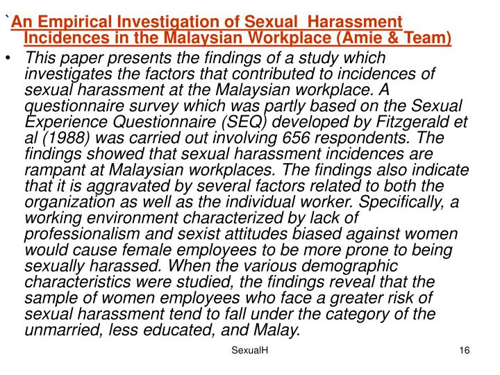 an overview of the factor of sexual harassment in canadas workplaces Historical and theoretical overview of dominant political today's workplaces this then contributes to the implied acceptance of sexual harassment.