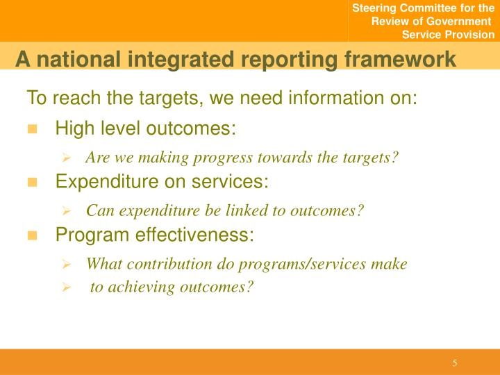 A national integrated reporting framework