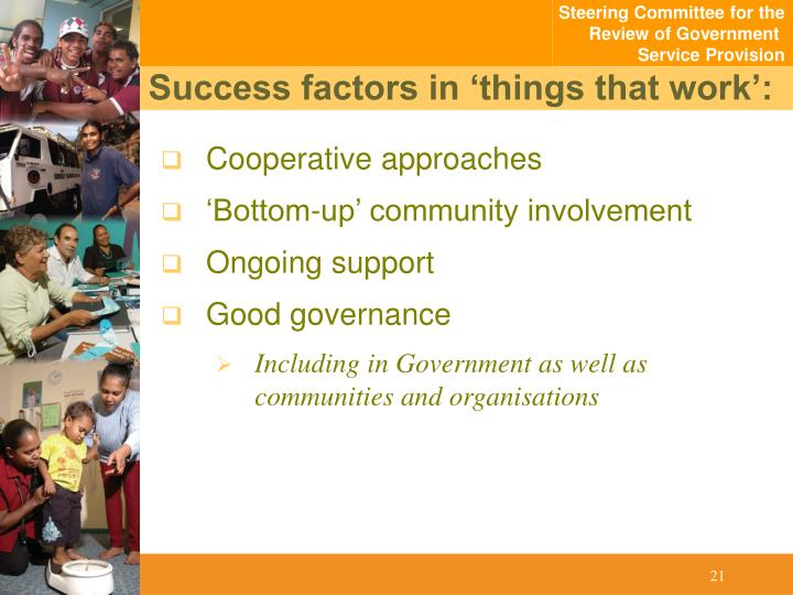 Success factors in 'things that work':