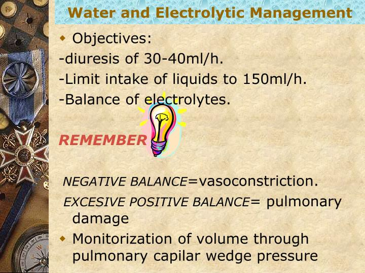 Water and Electrolytic Management