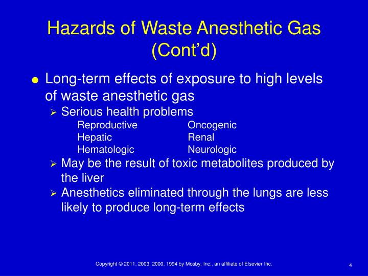 Long-term effects of exposure to high levels of waste anesthetic gas