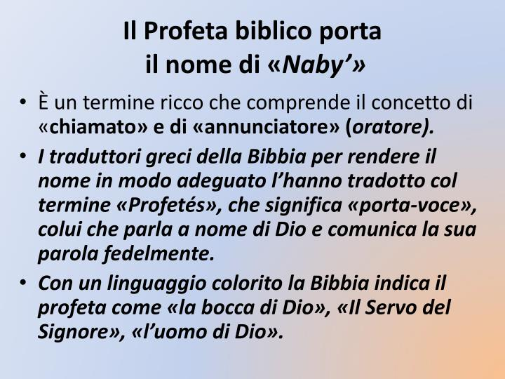 Il Profeta biblico