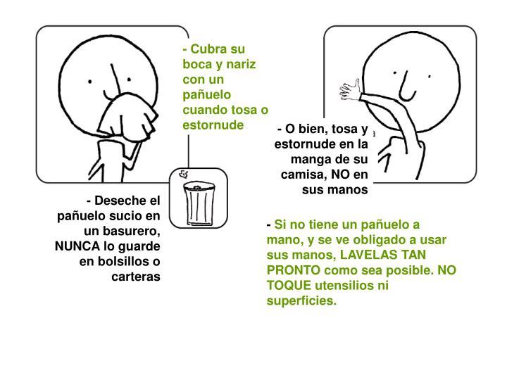 - Cubra su boca y nariz con un pañuelo cuando tosa o estornude