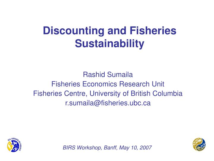 discounting and fisheries sustainability n.