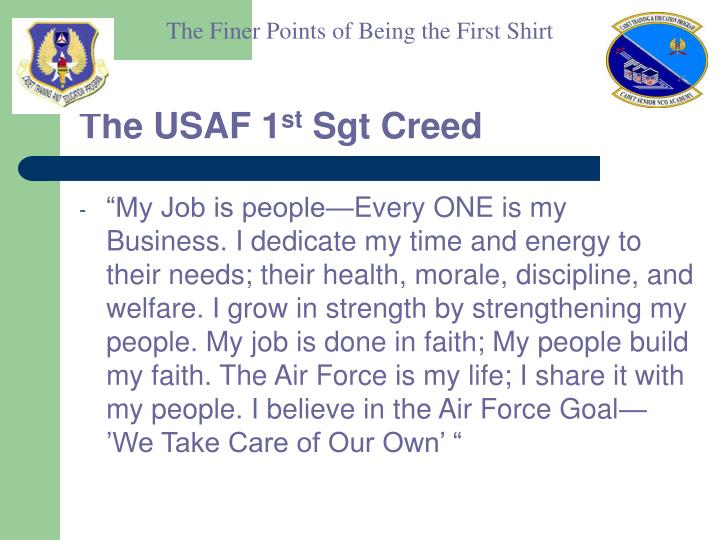 The usaf 1 st sgt creed