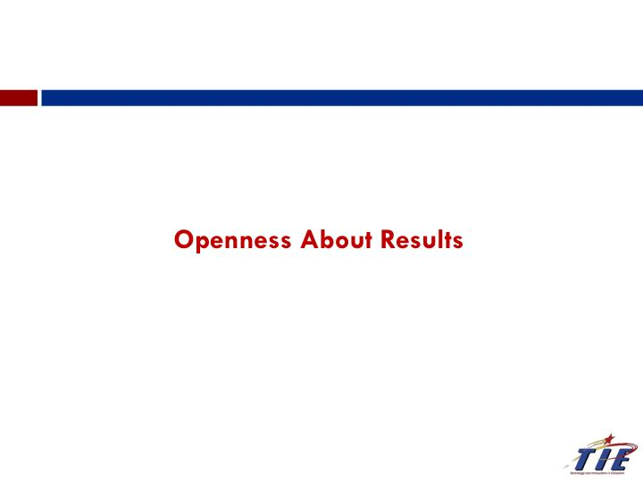 Openness About Results