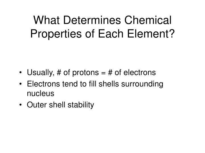What Determines Chemical Properties of Each Element?