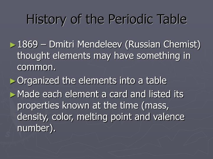 Ppt the history and arrangement of the periodic table powerpoint history of the periodic table urtaz