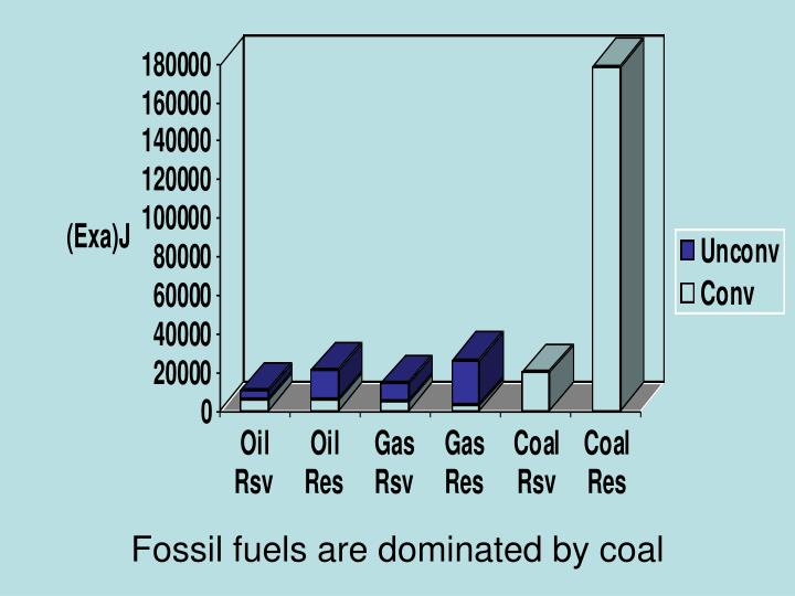 Fossil fuels are dominated by coal