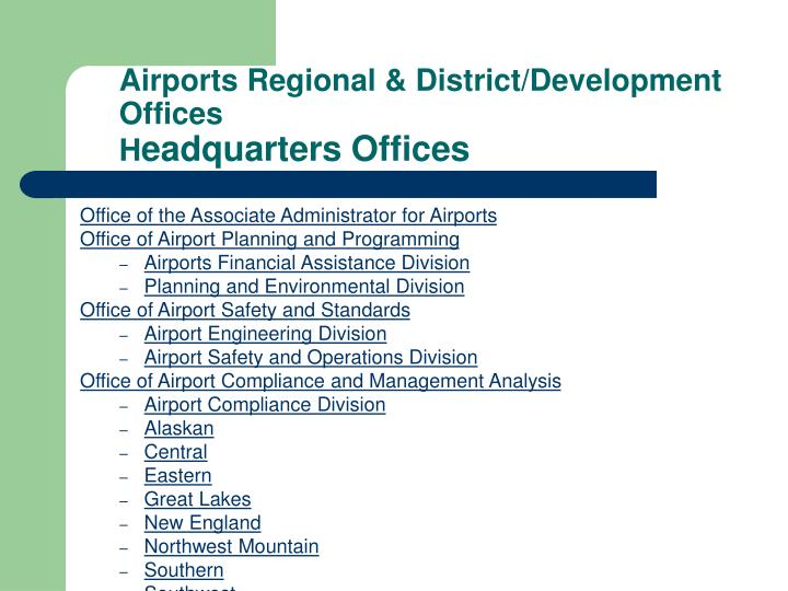 Airports Regional & District/Development Offices