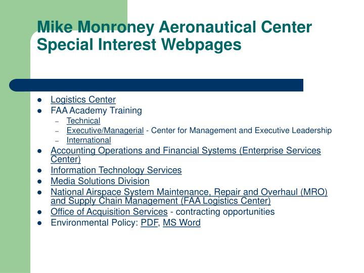Mike Monroney Aeronautical Center Special Interest Webpages