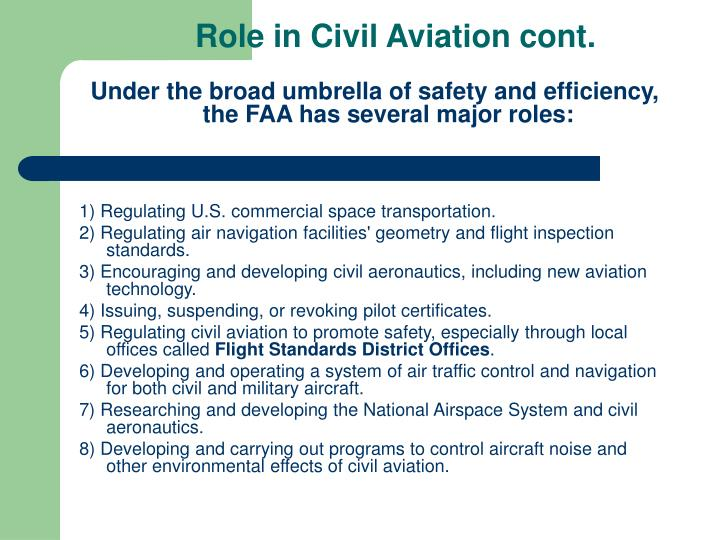 Role in Civil Aviation