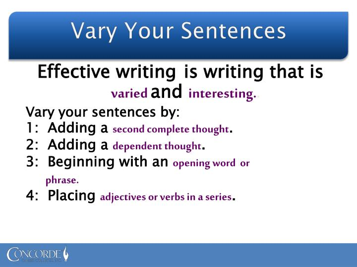 Vary Your Sentences