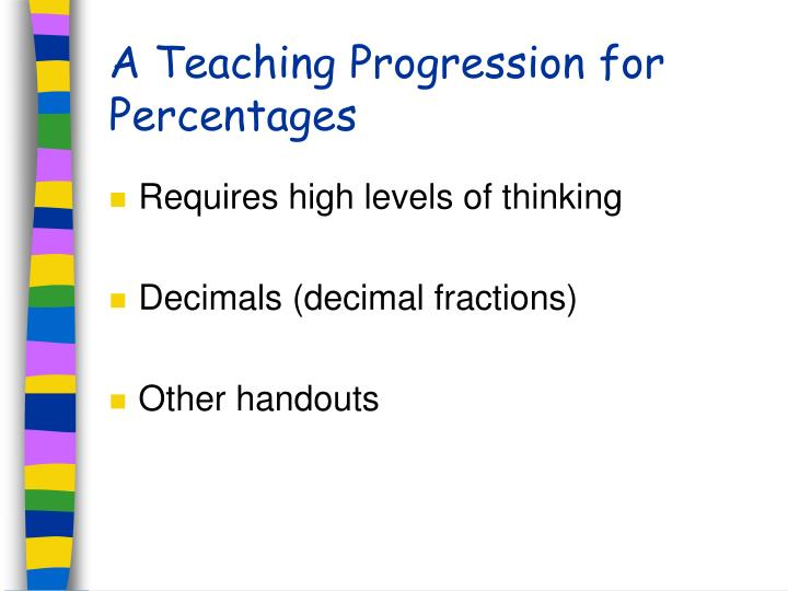 A Teaching Progression for Percentages