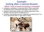 example looting after a natural disaster