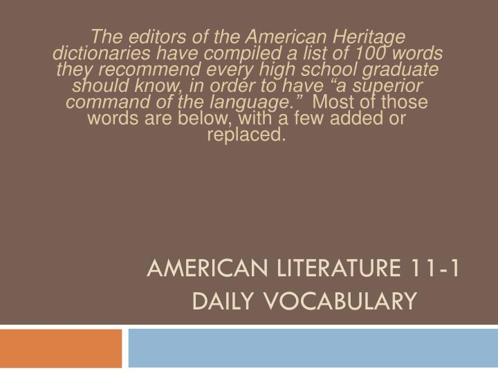american literature 11 1 daily vocabulary n.