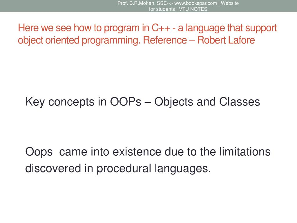 PPT - OBJECT ORIENTED PROGRAMMING WITH C++ PowerPoint Presentation