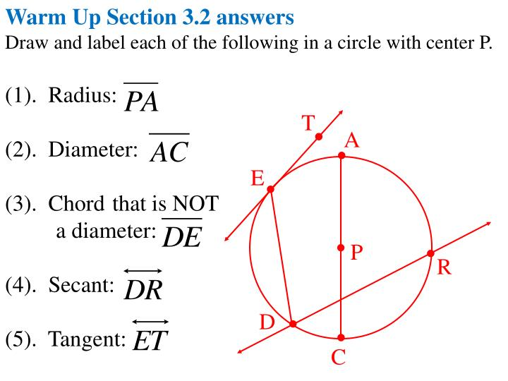 Warm Up Section 3.2 answers
