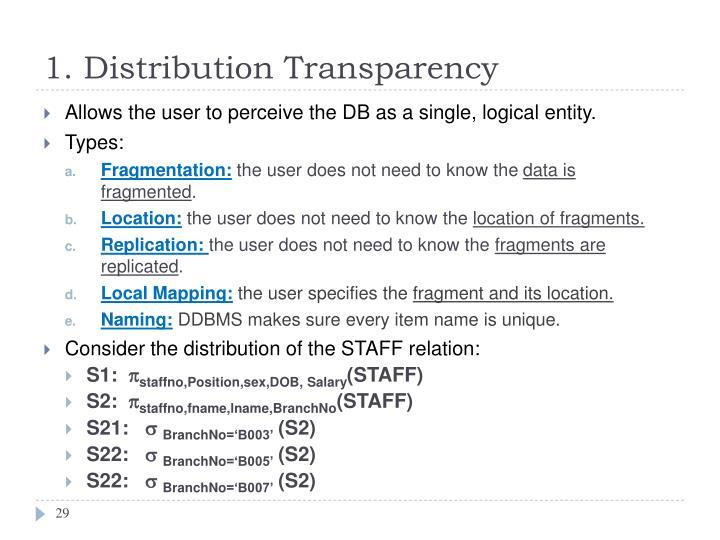 1. Distribution Transparency