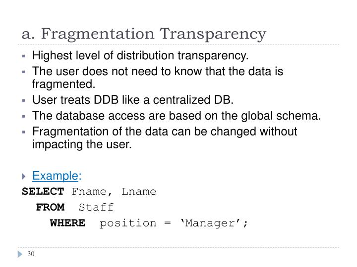 a. Fragmentation Transparency