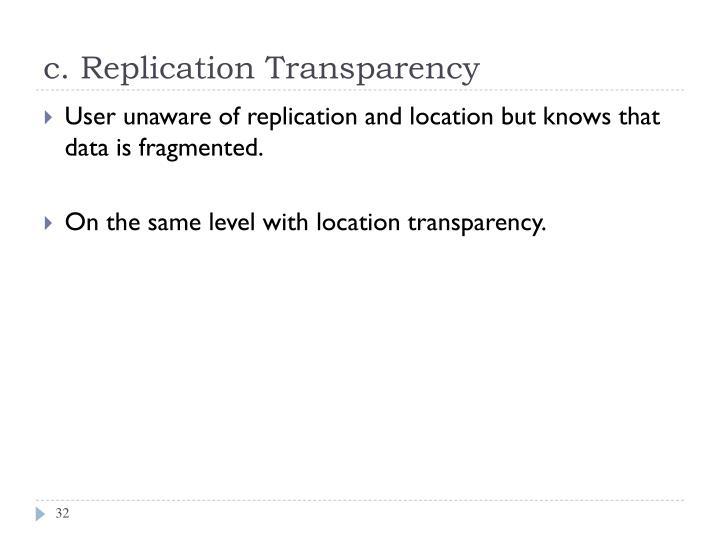 c. Replication Transparency