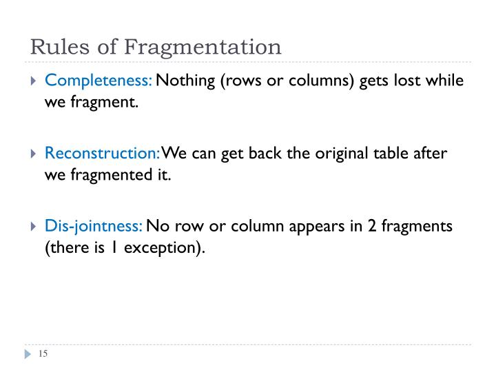 Rules of Fragmentation
