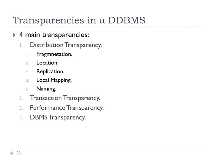 Transparencies in a DDBMS