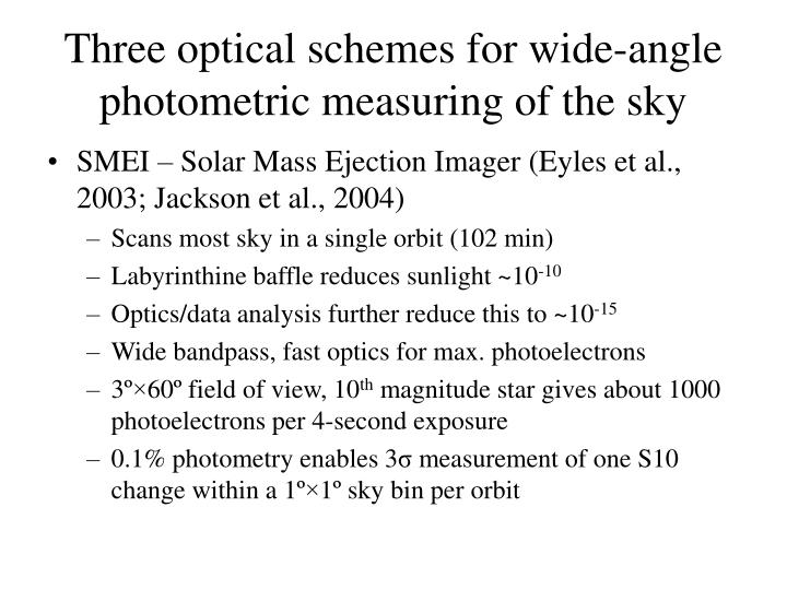 Three optical schemes for wide-angle photometric measuring of the sky